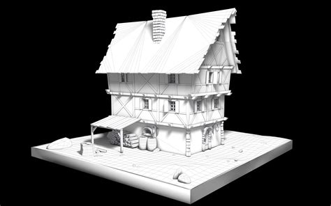 Haus Mittelalter Fantasy Wireframe 3dringde