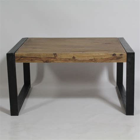 table basse carree bois et metal ezooq