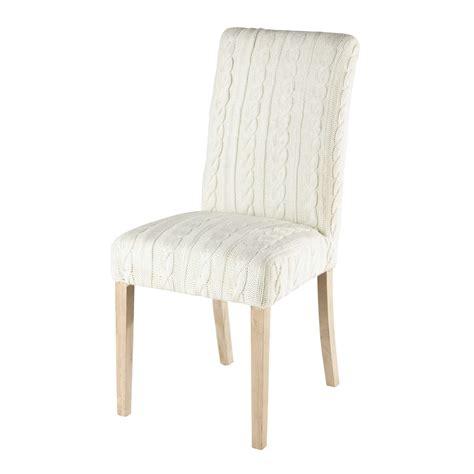 housse de chaise tricot 233 e blanche margaux maisons du monde