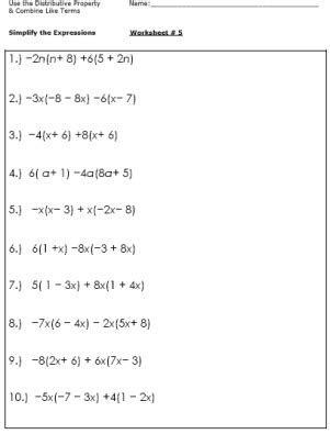 12 Best Images Of 6thgrade Combining Like Terms Worksheet  Simplifying Expressions Worksheets