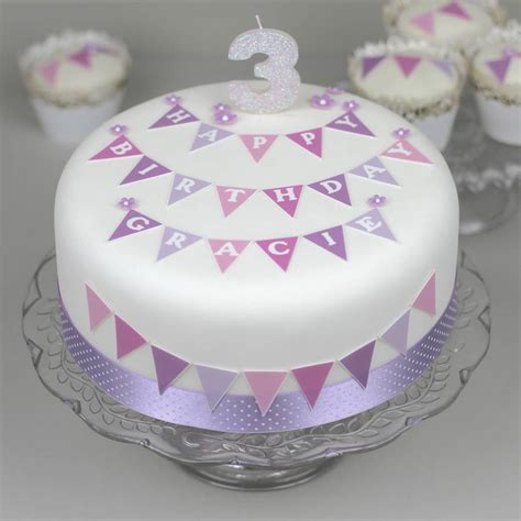 personalised bunting birthday cake decorating kit by clever cake kits