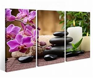 Bild 3 Teilig Auf Leinwand : leinwandbild 3 tlg wellness feng shui blume steine leinwand bild bilder auf keilrahmen holz ~ Markanthonyermac.com Haus und Dekorationen