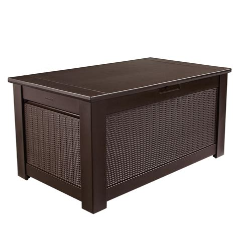 Rubbermaid Deck Box Home Depot by Rubbermaid 136 Gal Chic Basket Weave Patio Storage Trunk