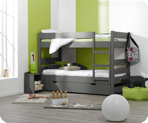 lit superpos 233 enfant 1 2 3 gris 90x190 cm avec sommier gigogne