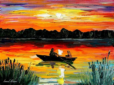 Boat Paintings By Famous Artists by Sunset Over The Lake Painting By Leonid Afremov