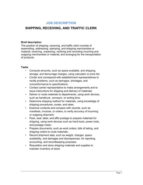 Shipping, Receiving And Traffic Clerk Job Description. Resume Format With Experience. Sample Resume Samples. Resume Layout Tips. Sample Speech Pathology Resume. Extra Curricular For Resume. Sample Resume For Event Manager. Objective Statement For Resume Sample. Sample Resume Of Caregiver