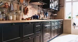 Arbeitsplatte Eiche Massiv Ikea : k che in schwarz braun arbeitsplatte aus eiche ikea k chen liebe pinterest ~ Markanthonyermac.com Haus und Dekorationen