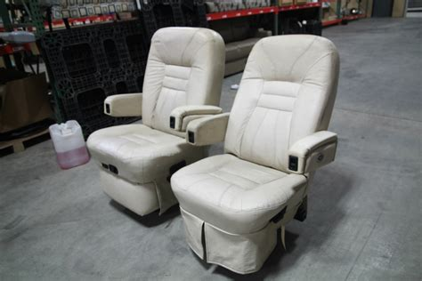 rv furniture used rv motorhome flexsteel vanilla leather captain chair set rv captains chairs