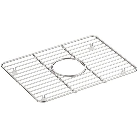 kohler cairn 10 375 in x 14 25 in stainless steel kitchen sink basin rack k 5198 st the home