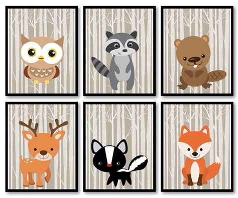 Woodland Animals Woodland Nursery Art Print Mix Match Owl Racoon Beaver Deer Skunk Fox Trees Double Decorative Curtain Rods Window Icicle Lights Baltimore Ravens Shower Hospital Privacy Track Funny Curtains For Sale Patterned Thermal Door John Lewis Striped Uk