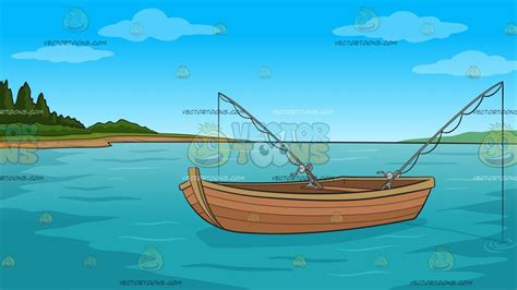 Cartoon Boat Scene by Fishing Boat On The Lake Background Clipart By Vector Toons
