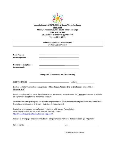 mod 232 le de bulletin d adh 233 sion d une association bulletin adhesion 1 pdf fichier pdf