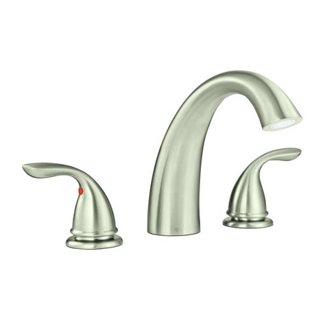 glacier bay builders 2 handle deck mount tub faucet in brushed nickel 461 5004 the home