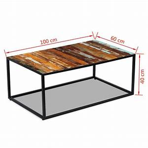 Matratze 60 X 100 : acheter vidaxl table basse bois de r cup ration massif 100 x 60 x 40 cm pas cher ~ Markanthonyermac.com Haus und Dekorationen