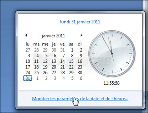 comment afficher l horloge sur le bureau windows 7
