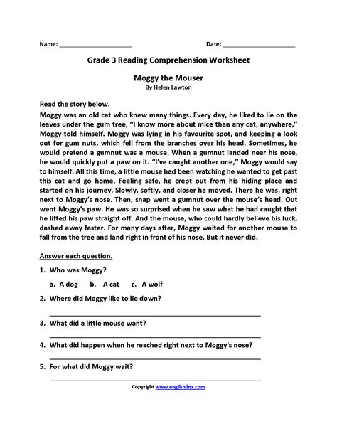 Third Grade Reading Comprehension Passages Worksheets For All  Download And Share Worksheets