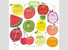 Calendario 2018 de frutas Descargar Vectores gratis