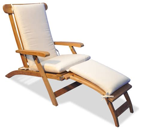 teak steamer chaise lounge with sunbrella cushion canvas style outdoor chaise lounges