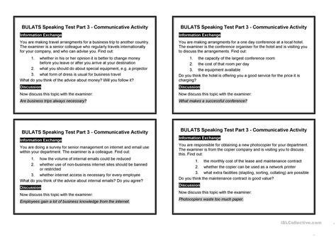 Bulats Speaking Test Part 3  Communicative Activity Worksheet  Free Esl Printable Worksheets
