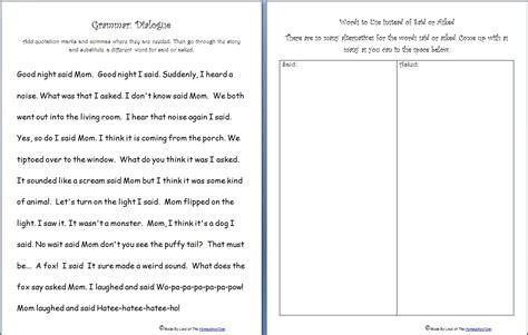 Free Grammar Practice Sheet Quotation Marks, Saidasked Words  Homeschool Den