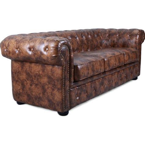 canap 233 chesterfield 3 places cuir marron vintage lestendances fr