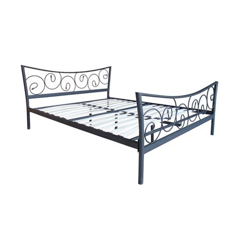 meuble lit 2 places en fer forg 233 noir pas cher