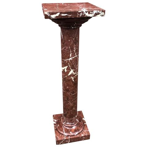 Antique Handcrafted Red And White Marble Pedestal