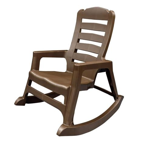 shop mfg corp earth brown resin stackable patio rocking chair at lowes