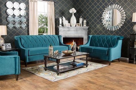 limerick teal living room set sm2882 sf furniture of america