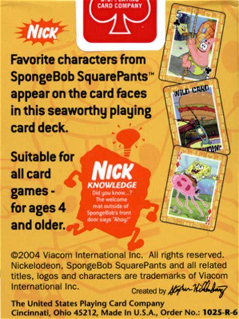 nickelodeon spongebob squarepants cards