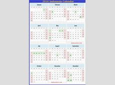 Indonesia 2016 Calendar Indonesian Holidays 2016