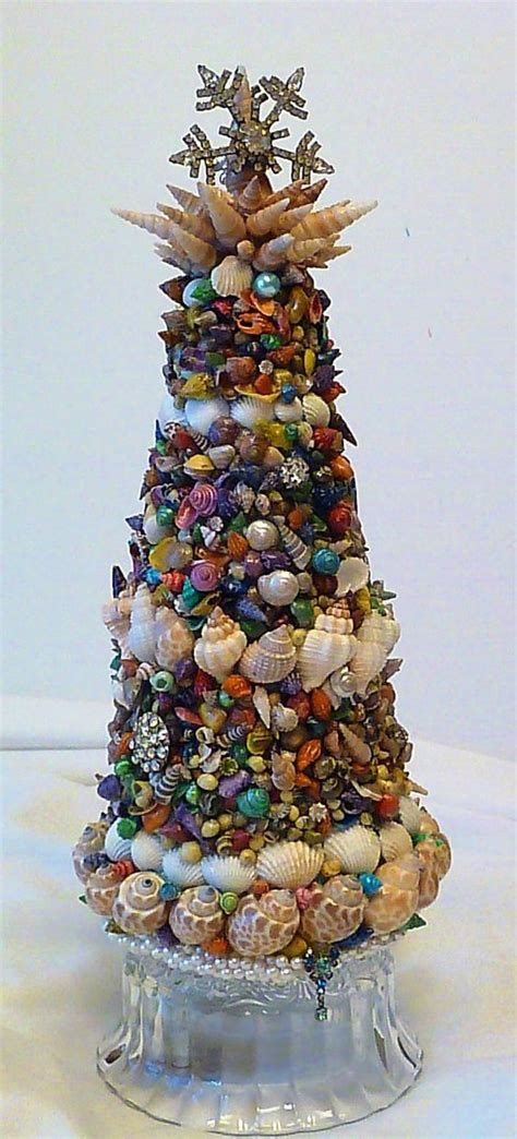 Seashell Christmas Tree Pinterest by Coastal Seashell Topiary Christmas Tree Tabletop By
