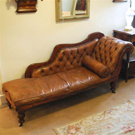 antique button back leather chaise longue 308668 sellingantiques co uk