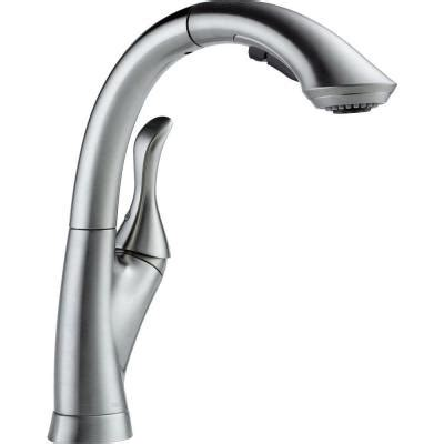 delta linden single handle pull out sprayer kitchen faucet with multi flow and high arc
