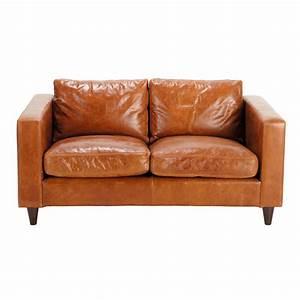Couch Braun Leder : vintage sofa 2 sitzer aus leder braun henry henry maisons du monde ~ Markanthonyermac.com Haus und Dekorationen