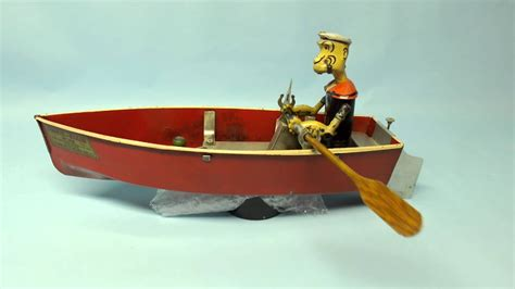 Toy Boat Wind Up by Rare Antique 1935 Hoge Popeye The Sailor Mechanical