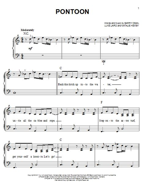 Little Big Town Pontoon Chords And Lyrics by Little Big Town Pontoon Easy Piano Sheetmusicdirect
