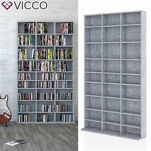Dvd Cd Regal : vicco medienregal 180 x 102 cm beton standregal real ~ Markanthonyermac.com Haus und Dekorationen