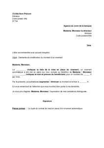 modele resiliation virement permanent document