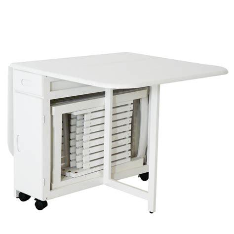 table 4 chaises pliantes gain de place blanc table repas topkoo
