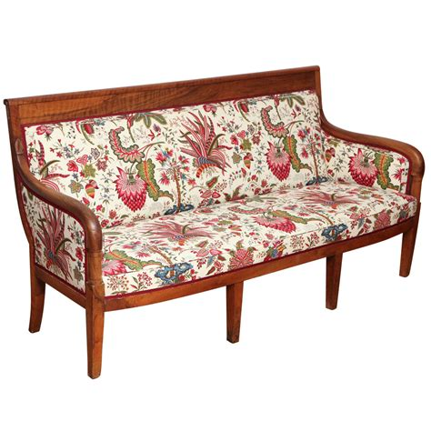 louis philippe walnut canape with floral fabric at 1stdibs
