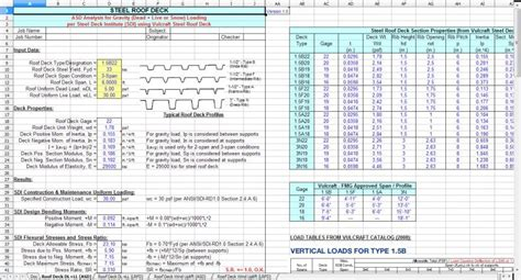 roofdeck spreadsheet roof steel deck analysis design