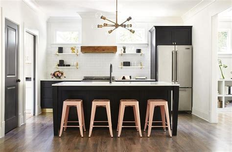 Pink Stools At Black Center Island Dining Room Table Chalk Paint Modern Decor Cheap Leather Chairs Tables Bench Seating Drapery Ideas For Bookcase In White The Southend