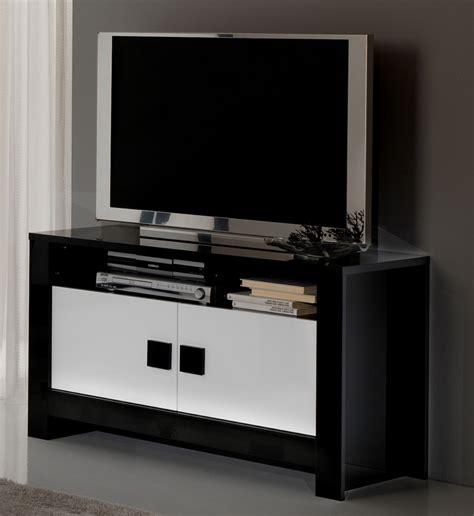 meuble tv pisa laqu 233 e bicolore noir blanc noir blanc