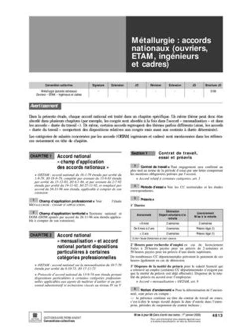 convention collective nationale des ingenieurs et cadres de la metallurgie preavis ccmr