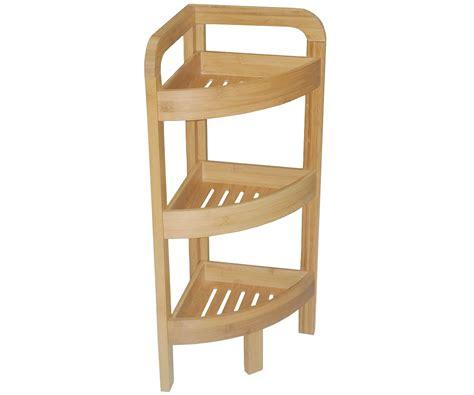 etagere d angle bambou salle de bain 3 niveaux meuble rangement bois