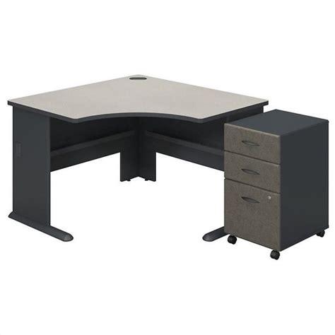 bush bbf series a corner desk with pedestal in slate white spectrum ebay