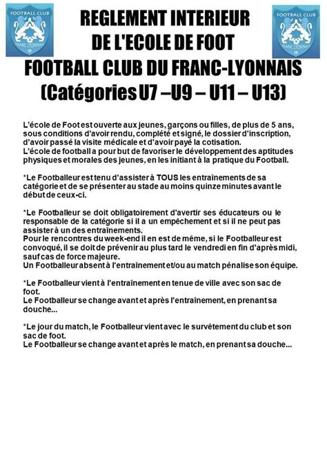 r 232 glement int 233 rieur club football football club du franc lyonnais footeo
