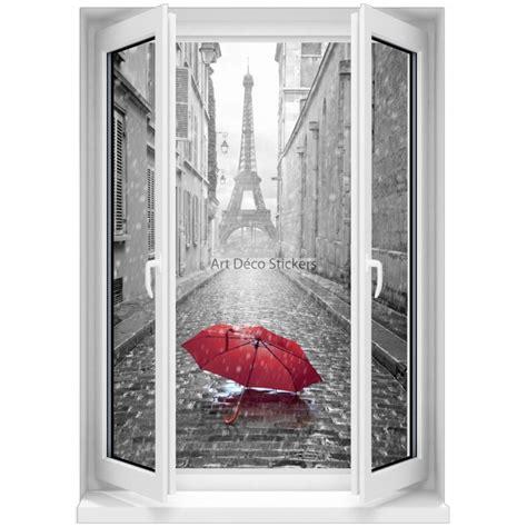 sticker mural fen 234 tre trompe l oeil parapluie noir et blanc 5359 stickers muraux deco