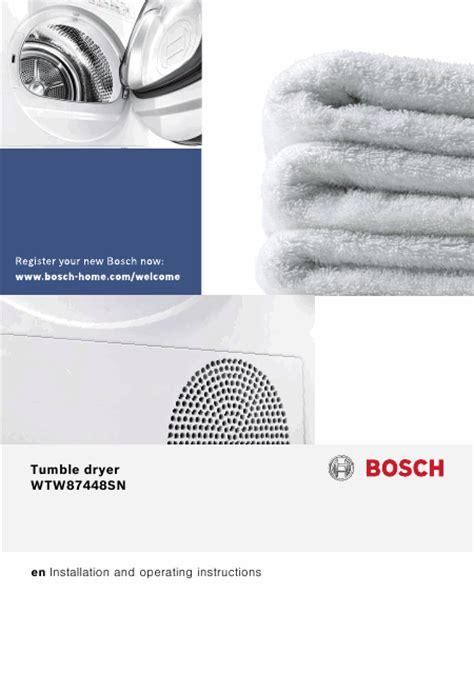 bosch wtw87448 mode d emploi notice d utilisation manuel utilisateur t 233 l 233 charger pdf